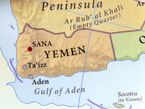 Geographic map of Yemen with important cities Royalty Free Stock Images
