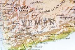 Geographic map of Yemen with important cities Royalty Free Stock Image