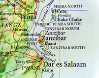 Geographic map of Zanzibar with important cities. Close stock photos