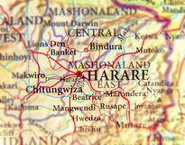 Geographic map of Zimbabwe and capital city Harare Stock Photo