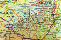 Geographic map of Zimbabwe with important cities Royalty Free Stock Photography