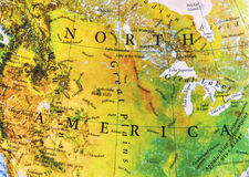 Geographic of North America map relief. Close Stock Photography