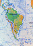 Geographic of South America map relief. Close royalty free stock photos