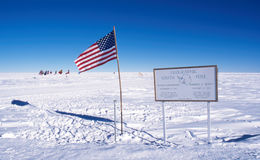 Geographic South Pole. The Geographic South Pole, Antarctica, with the Ceremonial South Pole in the background Royalty Free Stock Photo