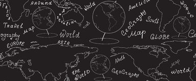 Geographic vector seamless pattern with world map and globes handwritten by chalk on grey board Stock Image