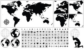 Geographical icons. Vector geographical icon collection with world maps Royalty Free Stock Photos