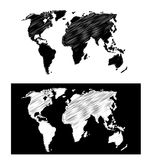 Geographical map scribbled Royalty Free Stock Photo