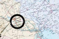 Geographical mapa ze wzrostem Irakijskiego kapitału Bagdad Pojęcie parawanowego ciułacza przegląd obrazy stock