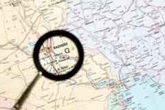 Geographical mapa ze wzrostem Irakijskiego kapitału Bagdad Pojęcie parawanowego ciułacza przegląd fotografia royalty free