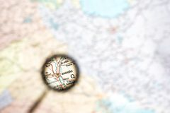 Geographical mapa ze wzrostem Irakijskiego kapitału Bagdad Pojęcie parawanowego ciułacza przegląd zdjęcia stock