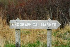 Geographical marker. Trail sign of geographical marker in uplands park, victoria, british columbia, canada royalty free stock images