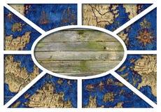 Geographical rama z mapą 5 Zdjęcia Royalty Free