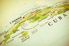 Geographical view of Cuba. (Geographical view altered on colors/perspective and focus on the edge. Names can be partial or incomplete stock photography