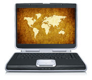 Geographical world map on laptop screen Stock Photos