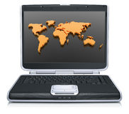 Geographical world map on laptop screen. 3d model of the geographical world map on laptop screen isolated on a white background Stock Images