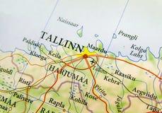 Geographische Karte des europäischen Landes Estland mit Hauptstadt Tallinn Stockfoto
