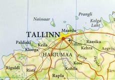 Geographische Karte des europäischen Landes Estland mit Hauptstadt Tallinn Stockfotos