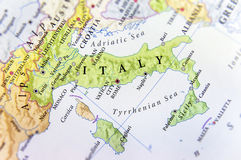 Geographische Karte des europäischen Landes Italien mit wichtigen Städten Lizenzfreies Stockbild