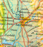 Geographische Karte des Sacramento-Stadtabschlusses Stockfoto