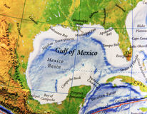 Geographische Karte vom Golf von Mexiko in Mexiko-Land lizenzfreies stockfoto
