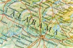 Geographische Karte von Alabama-Abschluss stockfotos