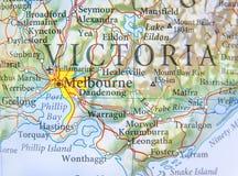 Geographische Karte von Australien mit Melbourne-Stadt Lizenzfreie Stockfotos