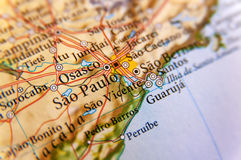 Geographische Karte von Brasilien mit Hauptsao Pulo-Stadt Lizenzfreie Stockfotografie