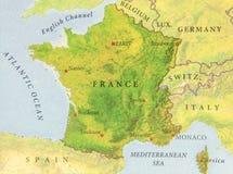 Geographische Karte von europäisches Land Frankreich-Abschluss Lizenzfreies Stockbild
