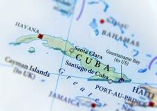 Geographische Karte von Kuba-Abschluss Lizenzfreie Stockfotos