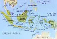 Geographische Karte von Malaysia, von Brunei und von Indonesien mit wichtigen Städten stockbilder