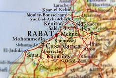 Geographische Karte von Marokko mit Hauptstadt Rabat stockfotos