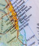 Geographische Karte von Miami-Abschluss lizenzfreie stockfotografie