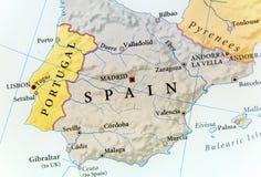 Geographische Karte von Spanien mit wichtigen Städten Lizenzfreies Stockbild