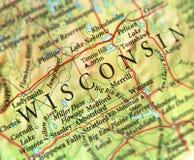 Geographische Karte von US-Staat Wisconsin mit wichtigen Städten Stockbilder
