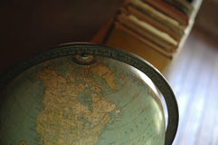 Geography. A closeup of an old-fashioned globe royalty free stock photography