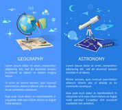 Geography and Astronomy Classes Informative Page. Geography and astronomy informative Internet pages with globe model, world and starry sky maps, and powerful Stock Photo