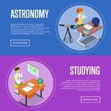 Geography and astronomy studying at school. Isometric 3D posters. Young people sitting at table in classroom and doing homework. Individual education concept Royalty Free Stock Photo