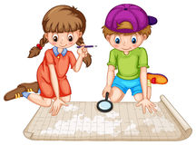 Geography. Boy and girl looking at world atlas Royalty Free Stock Image