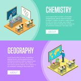 Geography and chemistry lessons at school. Isometric posters. Children sitting at table in classroom and studying, teacher near blackboard vector illustration Stock Images