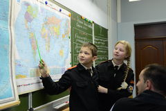In geography class in the cadet corps of the police Royalty Free Stock Image