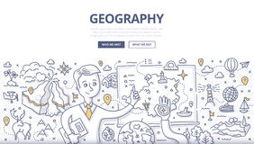 Geography Doodle Concept. Doodle  illustration of geography teacher explaining the subject near blackboard. Education concept of geography and exploration for Stock Images