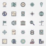 Geography flat icon set Royalty Free Stock Photos