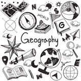Geography and geology education subject handwriting doodle icon stock illustration