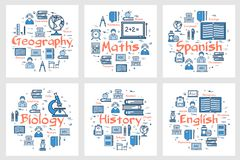 Geography, history, maths, languages and biology. Vector six square banners of school subjects - geography, history, maths, languages and biology. Linear icons stock illustration