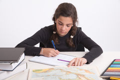 Geography homework Stock Photos