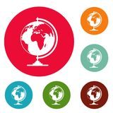 Geography icons circle set vector. Isolated on white background Stock Image