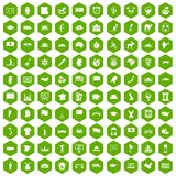 100 geography icons hexagon green. 100 geography icons set in green hexagon isolated vector illustration stock illustration