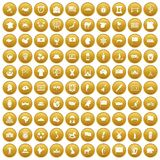 100 geography icons set gold. 100 geography icons set in gold circle isolated on white vectr illustration Royalty Free Illustration