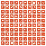 100 geography icons set grunge orange. 100 geography icons set in grunge style orange color isolated on white background vector illustration Royalty Free Stock Photos