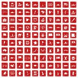 100 geography icons set grunge red. 100 geography icons set in grunge style red color isolated on white background vector illustration royalty free illustration